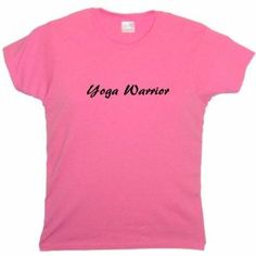 Flirty Diva Tees Woman's LooseFit T-Shirt-Yoga Warrior-Pink Azalea-Black (Apparel) #tees