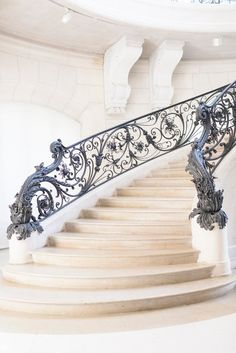 Paris Gallery Wall - The Kristy Wicks Paris Collection, Elegant Pastel Gallery Wall, Large Wall Art, French Decor Luxury Staircase, Modern Staircase, Grand Staircase, Staircase Design, Floating Staircase, Wrought Iron Stair Railing, Staircase Railings, Stairways, Banisters