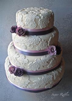 Lace Wedding Cake  @Samantha K N Jerod Morris This isn't my favorite just an idea