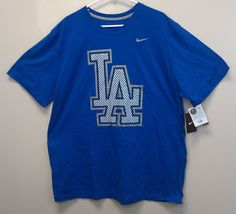 $22.99 and FREE SHIPPING! Los Angeles Dodgers NIKE Tee XXL NEW/NWT ZigZag Graphics Royal Blue MLB $26RET #Nike #Polyvore #ShopStyle
