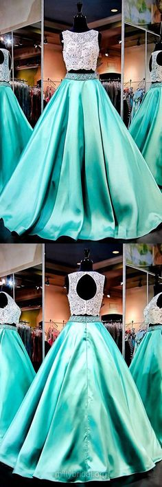 Boutique Ball Gown Formal Dresses, Scoop Neck Lace Evening Gowns, Satin Long Party Dress, Beading Two Piece Prom Dresses