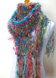 Samba Hand Knit Scarf Turquoise Multi Colored Tones by Fanchi, $40.00