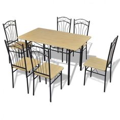 7 Piece Dining Set Table And Chairs Brown Wood Metal Breakfast Furniture  Modern