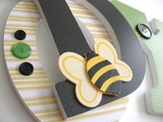 Custom Decorated Wooden Letters BUMBLEBEE Theme  by LetterLuxe, $20.00