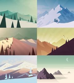 Early concept art for an upcoming iOS project, Alto's Adventure - built in collaboration with Snowman.