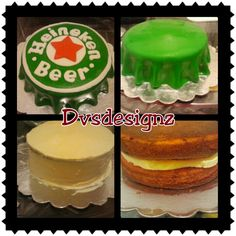 8 in strawberry cake with cheesecake filling. Heineken cake. Be sure to visit www.facebook.com/dvsdesignz or follow me in instagram @desiree correa