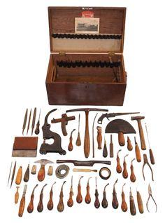 Vintage LEATHER tools, toolbox