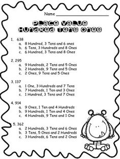 Place Value Worksheet Grade 1, Second Grade, Daily 3 Math, Place Value Worksheets, Primary Maths, Unit Plan, Place Values, Interactive Notebooks, Task Cards