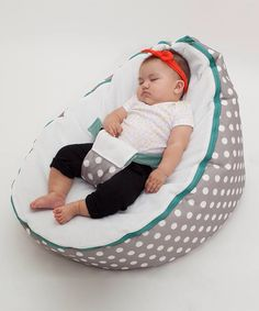 Gray Polka Dot Beanbag Seat by Baby Beanbag by millie  sc 1 st  Pinterest & Baby Bean Bag Chair to prevent flatheads. Other colors also ...