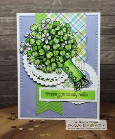 "with just three markers? Oxalis Card by Allison Cope featuring Power Poppy's digital stamp ""Wish You Luck"" Copic Color Chart, St Patricks Day Cards, Wish You Luck, Poppy Cards, Coloring Tutorial, Diy Cards, Handmade Cards, Digital Stamps, Go Green"