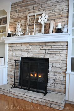 fireplace surround redo rock framework coverup | {HOME} Goodness ...