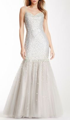 Embellished Sequin Sweetheart Gown
