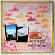 Marsha Valk | Inspired By: Finnish care package // 12x12 scrapbook layout // oil pastels