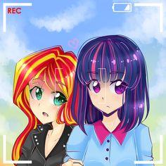 #1115813 - artist:ten-dril, camera, equestria girls outfit, humanized, safe, sunset shimmer, twilight sparkle - Derpibooru - My Little Pony: Friendship is Magic Imageboard