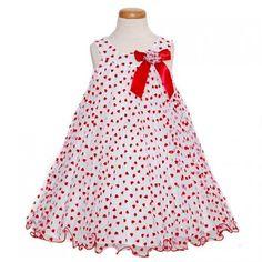 Bonnie Jean White Mesh Red Velour Heart Print Dress Girls 3M-6X.  $32.99
