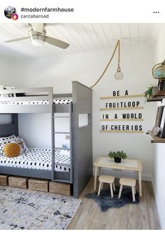 I really love every single thing about this room by The oversized message board The hanging ceiling light The little work station Decor Style Home Decor Style Decor Tips Maintenance Boy And Girl Shared Room, Shared Boys Rooms, Shared Bedrooms, Girls Bunk Beds, Bunk Bed Rooms, Beddys Bedding, Bohemian Living Rooms, Bohemian Homes, Kids Room Design