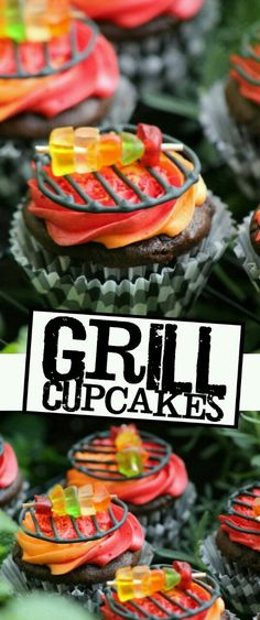 Cupcakes BBQ Grill Cupcakes - These Grill Cupcakes are a whimsical dessert to help you celebrate a summer barbecue party!BBQ Grill Cupcakes - These Grill Cupcakes are a whimsical dessert to help you celebrate a summer barbecue party! Fun Cupcakes, Cupcake Cakes, Cup Cakes, Brownie Cupcakes, Birthday Cupcakes, Summer Cupcakes, Rose Cupcake, Cupcakes Design, Ladybug Cupcakes