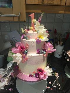1st Birthday Cake  Almond & Raspberry @TheGloriousBakery