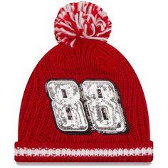 Dale Earnhardt Jr. New Era Women's Sequin Frost Cuffed Knit Hat with Pom - Red - $24.99