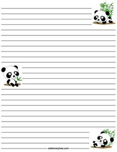 Printable panda stationery and writing paper. Multiple versions available with or without lines. Free PDF downloads at http://stationerytree.com/download/panda-stationery/