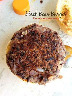 Frank's hot sauce flavored Black Bean Burgers. So meaty and moist that you won't even realize that they are veggie and so good for you!
