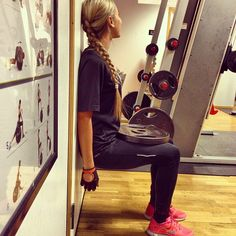 wall squat with weight!