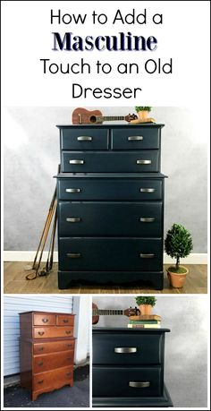 See how to add a masculine touch to an old dresser and paint furniture with a man in mind. This deep navy dresser with hearty new hardware pulls make all the difference.