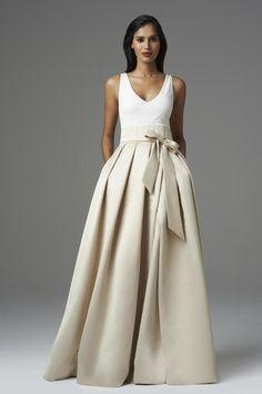 2014 V Neck A Line Prom Dress Floor Length With Ribbon Satin