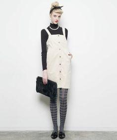 ViS(ビス)の【sweet12月号掲載】コーデュロイジャンパースカート(スカート)|サンドベージュ