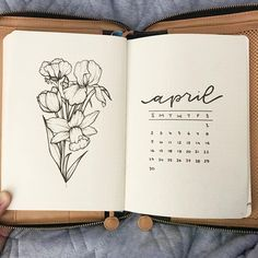 Bullet journal monthly cover page, April cover page, daffodil drawings. | @allorasbujo