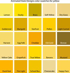 Color Swatches for Cyan, Yellow, Yellow-Green and Green - Gelb Yellow Paint Colors, Pastel Yellow, Yellow Painting, Shades Of Yellow Color, Living Room Colors, Bedroom Colors, Yellow Walls Bedroom, Yellow Bedrooms, Bedroom Ideas