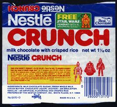 Nestle - Crunch - Free Star Wars Pendant offer - chocolate candy bar wrapper - 1979.