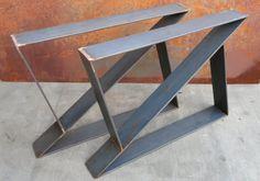 Z Metal Table Legs Set of 2 flat bar by SteelImpression Iron Furniture, Steel Furniture, Industrial Design Furniture, Rustic Furniture, Wood Steel, Wood And Metal, Metal Projects, Furniture Projects, Mesa Metal