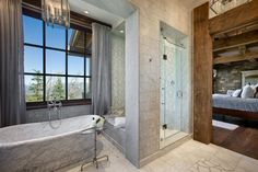 Master Bathroom, Yellowstone Club Summit Residence by Locati Architects
