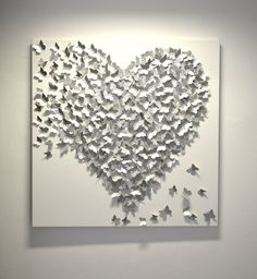 3D Silver Butterfly Art  - Hollywood Regency Glam / Modern Statement Wall Art / Wedding or Anniversary Gift / Silver Wall Art / Classic Glam