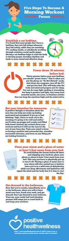 Five Steps to Become a Morning Workout Person – Positive Health Wellness Infographic