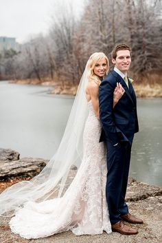 Wedding Photos by Saint Louis Wedding Photographer, Ashley Fisher Photography, Winter Wedding, Bride and Groom near frozen pond during ice storm at Forest Park in St. Louis, MO #weddingphotography