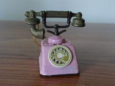 Vintage Pink Antique Mini Telephone Figurine by RusticWayTreasures