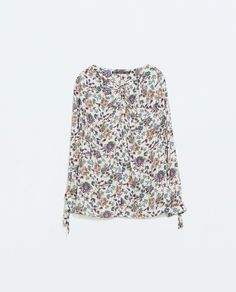 PRINTED SHIRT WITH KNOT from Zara