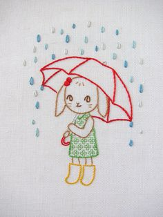 bunny with brolly embroidery - final finished by Joey's Dream Garden, via Flickr