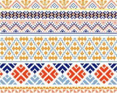 Ten decorative cross stitch borders inspired by traditional Hmong textiles featuring flowers and geometric designs in blues, pinks, lavenders,