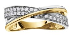 Classic and chic, this ring features one band each of white and yellow gold with the white gold band featuring diamonds. Diamond Anniversary Rings, Right Hand Rings, Gold Diamond Rings, Swarovski Jewelry, Fashion Rings, Round Diamonds, Dame, Rings For Men, White Gold