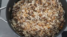 """""""stuffing"""") is a classic Levantine dish made with ground lamb and rice, seasoned with sweet spices such as allspice, cinnamon and nutmeg. Lebanese Rice Recipe, Lamb And Rice Recipe, Lebanese Recipes, Lamb Recipes, Rice Recipes, Vegetarian Recipes, Dinner Recipes, Cooking Recipes, Cooking Ideas"""