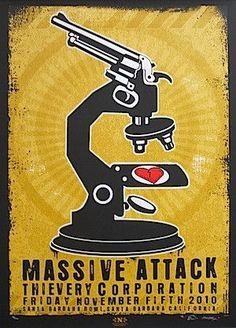 Massive Attack w/ Thievery Corporation - silkscreen concert poster (click image for more detail) Artist: EMEK Venue: Santa Barbara Bowl Location: Santa Barbara, CA Concert Date: 11/5/2010 Edition: 100