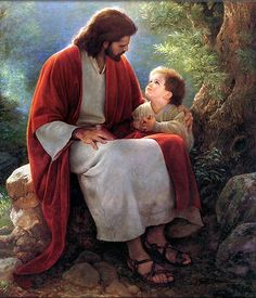 Jesus Picture Talking With And Hugging A Little Boy