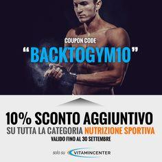 """=> EXTRA SCONTO del 10% <= su tutti i prodotti della categoria """"NUTRIZIONE SPORTIVA"""" Codice Coupon => BACKTOGYM10 <= *Il coupon è valido fino alle 23.59 del 30/09/16, per clienti privati (B2C) con indirizzo di spedizione italiano e per ordini superiori a 30 €. Leggi tutte le condizioni qui => http://www.vitamincenter.it/coupon   #coupon #sconto #sconti #integratori #palesta #allenamento"""