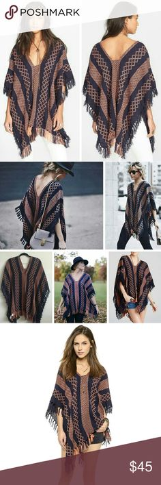Free People Knit Poncho Navy and coral aztec knit poncho from Free People. Worn once, in excellent condition. 100% acrylic. One size. Versatile piece, see photos for styling inspo! Open to reasonable offers and I offer bundle discounts! Free People Sweaters Shrugs & Ponchos