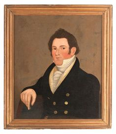 Folk Art Portrait of John Marland by Nathaniel Lakeman - Price Estimate: $1500 - $2500