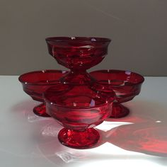 Viking Glass Georgian Ruby Sherbet Dishes, Set of Four by on Etsy Ice Cup, Viking Glass, Dessert Bowls, Ruby Red, Georgian, Colored Glass, Vikings, Ice Cream, Dishes