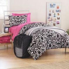 Girl Black Pink White Damask Twin Xl College Dorm Comforter Set (Room in a Bag)
